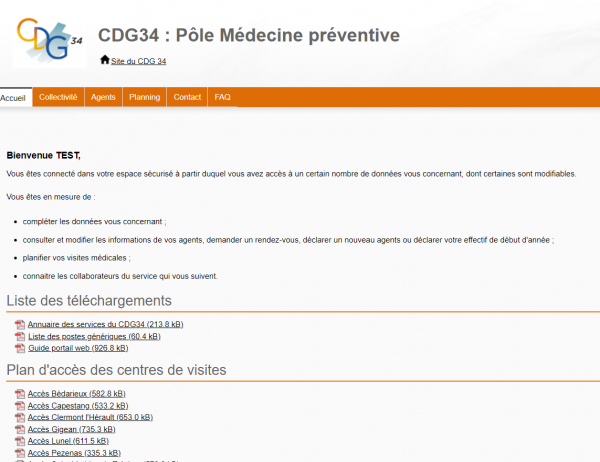page accueil portail medtra